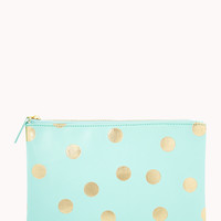 FOREVER 21 Metallic Polka Dot Cosmetic Pouch Mint/Gold One