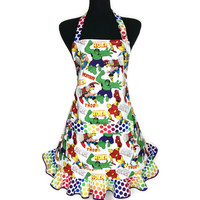 Marvel Super Hero Apron for Women , Ironman , Thor , Wolverine , The Incredible Hulk , Adjustable with Polka Dot Ruffle