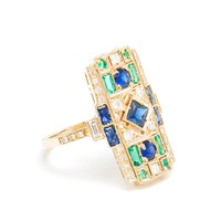 SABINE G | 18K White Gold, Emerald and Sapphire Ring | Browns fashion & designer clothes & clothing