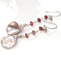 Mauve Petal Pearl Earrings Natural Pearl Jewelry Long Earrings Pink Tourmaline Earrings Silver Dangle Earring Tourmaline Jewelry Pearl Petal