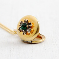 Vintage Clear & Green Rhinestone Locket Necklace - 1940s WWII Era Round Prong Set 12k Gold Filled Jewelry
