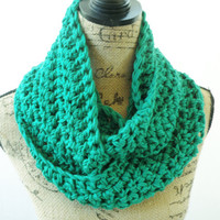 Ready To Ship Erin Green Emerald St Patrick's Day Infinity Crochet Scarf Cowl Loop Circle Accessory
