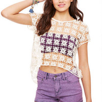Lace Split Back Short-Sleeve
