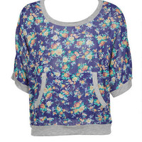 Blue Floral Kanga Pocket Sweatshirt