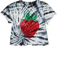 Tie-Dye Berry Split Back Tee