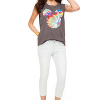 Jayden Low-Rise Double Button Skinny Crop in Washed Down Rose
