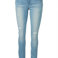 Jayden Low-Rise Double Button Skinny Jean in Light Destruct
