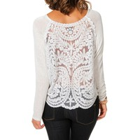 Gray Crochet Back Long Sleeve Top
