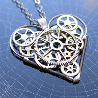 "Steampunk Heart Necklace ""Dreamer"" Elegant Industrial Heart Pendant Mechanical Steampunk Love Sculpture Gershenson-Gates Gear Heart"