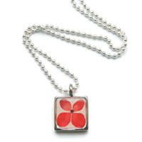 Red Hyrangea pendant necklace, real flower jewelry, Square pendant, Eco friendly jewelry, boho jewelry, pressed flower necklace