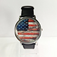 American Flag on Wood Watch, Vintage Style Watch, US Flag, Leather Watch, Women's watch, Men's Watch, black