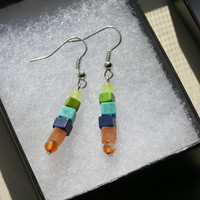 Earthwear: Natural Earrings ~ Turquoise, Carnelian Agate, & Lemon Jade ~ Healing Gemstone Jewelry