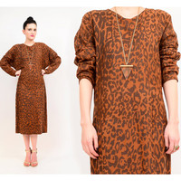 80s Vakko Leather Leopard Animal Print Slouch Chic Boho Dolman Sleeve Midi Dress S