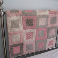 Baby Girl Quilt, Pink & Brown, Royal Baby Girl, Girl Crib Quilt, Nursery Decor