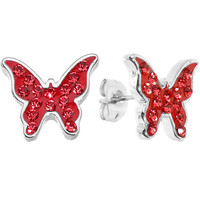 Sparkly Red Butterfly Stud Earrings | Body Candy Body Jewelry