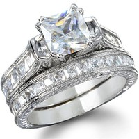 Sheridan's Princess Shape Platinum Finish Wedding Ring Set