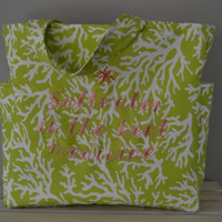 Saltwater is the Best Medicine - Green Coral Tote Bag