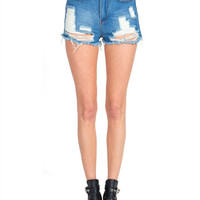 High Waisted Torn Denim Shorts