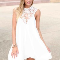 White High Lace Neck Tunic Dress
