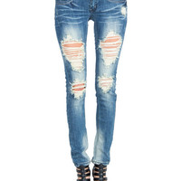 Faded and Destroyed Denim Skinny Jeans