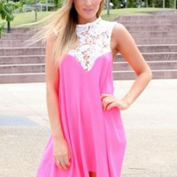 Pink High White Lace Neck Tunic Dress