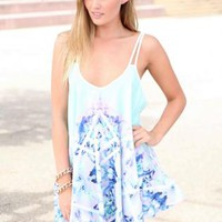 Blue Floral Sleeveless Mini Dress