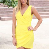 Yellow Plunging V-neck Mini Dress