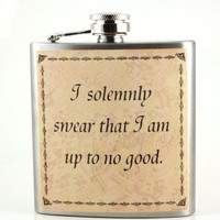 unique gift for Harry Potter fans - flask - Marauder's map - I solemly swear...