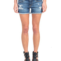 Fringed Distressed Denim Shorts