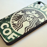 Personalized Embossed Painted (Starbucks, Cartoon, Fashion Etc.) Hard Cover Case for Iphone 5 Only+one Piece Random Color 3.5mm Anti Dust Earphone Jack Plug (Green Starbucks)