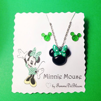 Handmade Green St Patrick's Day Minnie Mouse Necklace and Stud Earring Set Polka Dot