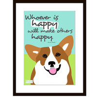 Welsh Corgi Dog Art Print Anne Frank Quote Matted
