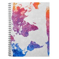 Acrylic World Map Colorful Art Notebook