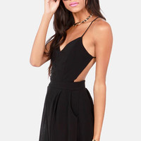 Sealed With a Kiss Backless Black Romper