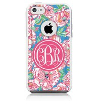 iPhone 5c Case White Lilly Pink Monogram (Generic for Otterbox Commuter)