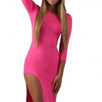 Hot Pink High Cut Fitted Dress
