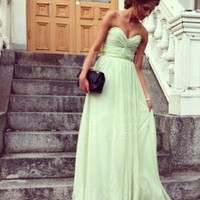 Elegant and Pretty Sage A-line Sweetheart Chiffon Floor Length Prom/Evening/Bridesmaid Dress