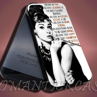 Audrey Hepburn - iPhone 4/4s/5c/5s/5 Case - Samsung Galaxy S3/S4 Case - Black or White