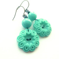 Bright Turquoise Aqua Pierced Flower Vintage Button Dangle Earrings - Shabby Chic
