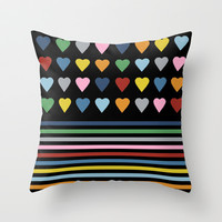 Heart Stripes Black Throw Pillow by Project M