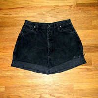 Vintage Denim Cut Offs - 80s CLASSIC Black Denim WRANGLER Brand Jean Shorts - High Waisted Cut Off/Frayed/Rolled up/Short Shorts Size 11/12