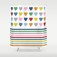 Hearts Stripes Shower Curtain by Project M