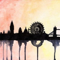 London Watercolour Skyline Stretched Canvas by Paint The Moment