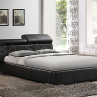 Manjot Black PU Platform Bed with Built-In Nightstand | Beds AF-20750Q/8