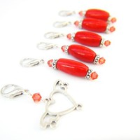 Ceyanne red heart crystals removable stitch markers charms set crochet | LittleApples - Knitting on ArtFire