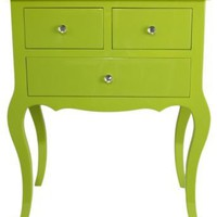 One Kings Lane - Bright Ideas - Wooden Side Table w/ 3 Drawers, Green