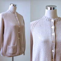 Vintage Cardigan / Pale Brown / Soft Thick Oversize Slouchy Plain Hand Knit / Women Medium Large Knitwear