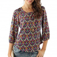 Navy Damask Print Blouse