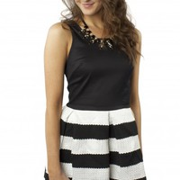 Striped & Pleated Flare Dress