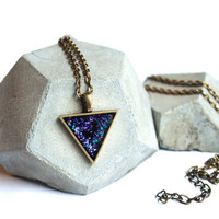 Triangle necklace with galaxy themed glitter set in edgy geometric brass triangle - trinity triangle necklace pendant with nebula glitter